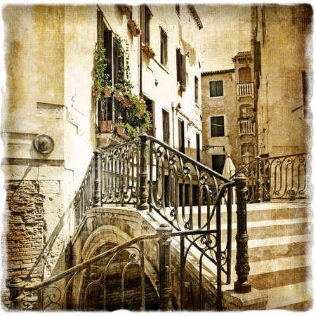 sepia toned: ventian streets - picture in retro style Stock Photo