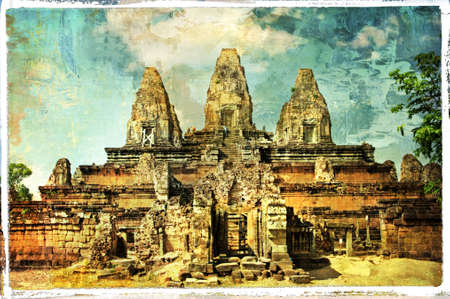 Pre Rup temple (Cambodia) - artwork in painting style photo