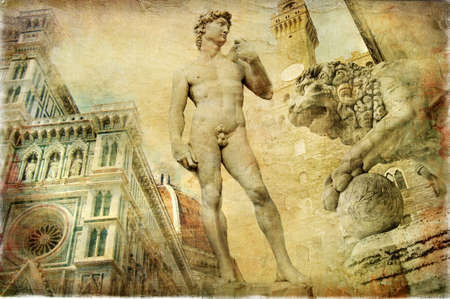 italy culture: beautiful Florence - artistic collage
