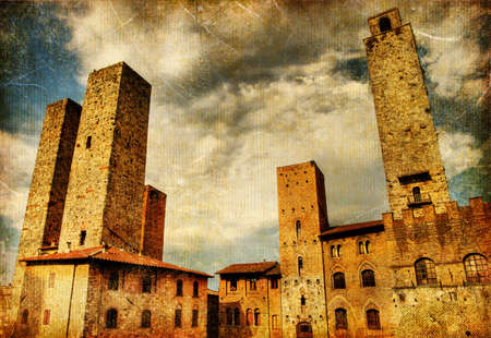 great italian landmarks painted series - San Gimignano