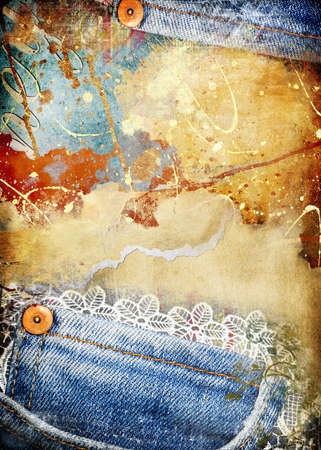 photo collage: grunge torn paper background  with denim border