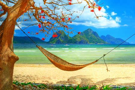 hamaca: escena de playa tropical con hamaca  Foto de archivo