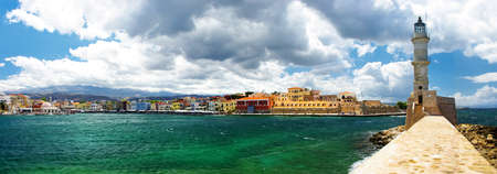kreta: Chania Kreta (Griechenland) - Panorama Bild mit Licht Haus