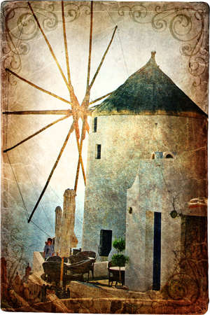 old windmill on Santorini - picture in retro style Stock Photo - 7567468