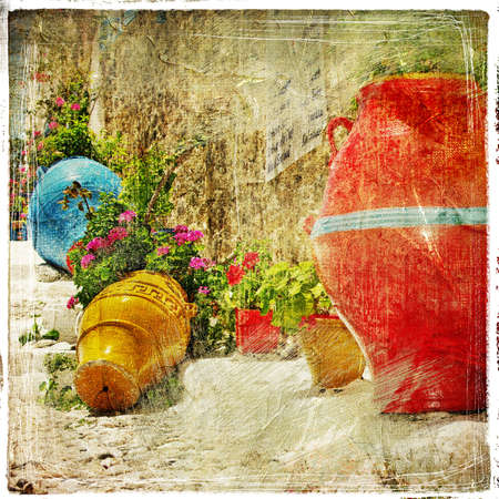pictorial: pictorial details of Greece - decoration with vases and flowers in taverna- retro styled picture