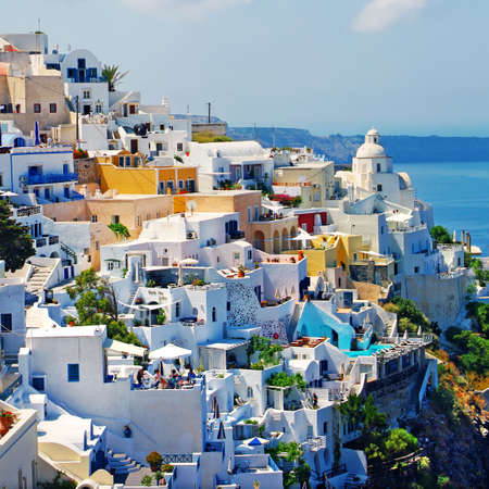 santorini greece: view of Fira town - Santorini Stock Photo