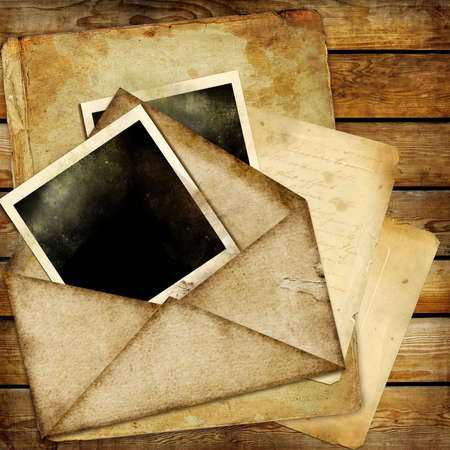 photo album page: vintage background with old letters and frames