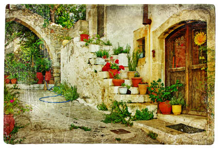 mediterranean houses: pictorial greek villages (Lutra)- artwork in retro style