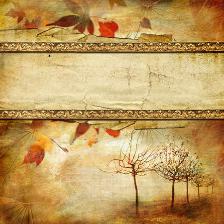 scrapbooking paper: vintage autumn background with place for tex Stock Photo