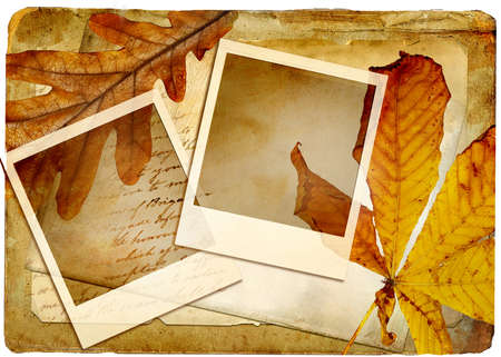 autumn retro background with frames and leaves photo