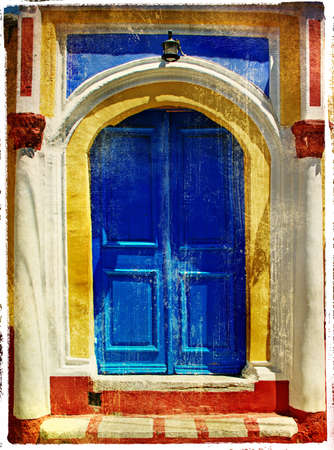 colored doors of greek islands - retro styled picture photo