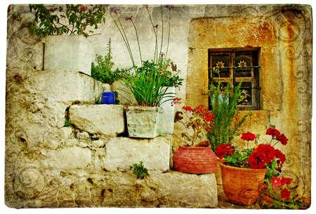 mediterranean countries: pictorial Cretan villages (Lutra)- artwork in retro style