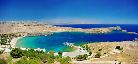 rhodes: View at Lindou Bay from Lindos Rhodes island, Greece  Stock Photo