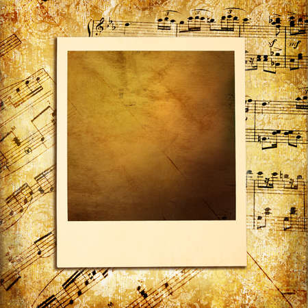 retro musical background with blank instant frame photo