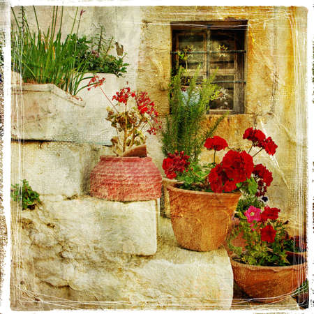 the historical: pictorial details of Greece - old door with flowers - retro styled picture