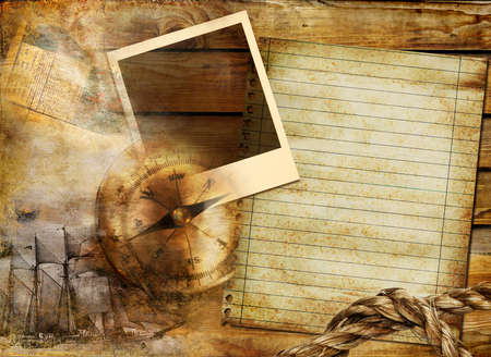 vintage background in adventure stories style with frame and blank page photo