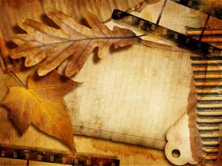 vintage background with autumn leave,filmstrips and blank page photo