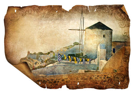 old windmill on Santorini - picture in retro style  photo