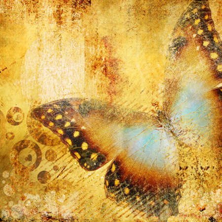 metallic grunge: decorative golden background with butterfly
