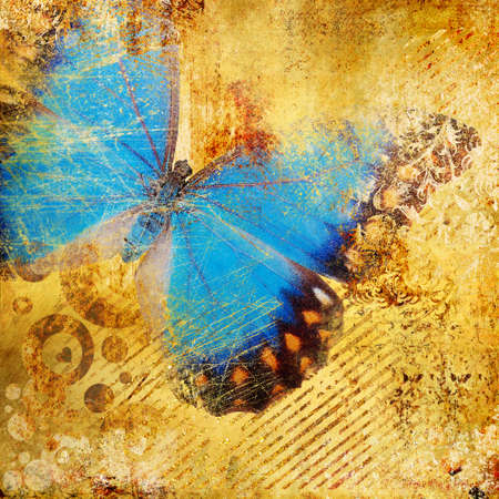 butterfly vintage: decorative golden background with blue butterfly