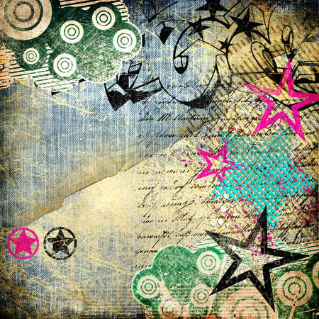 grunge art - vintage paper with graffiti elements  photo