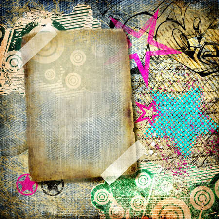 graffiti background: grunge art - vintage paper with graffiti elements and frame