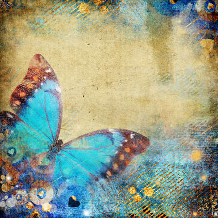 torn jeans: abstract retro background with butterfly  Stock Photo