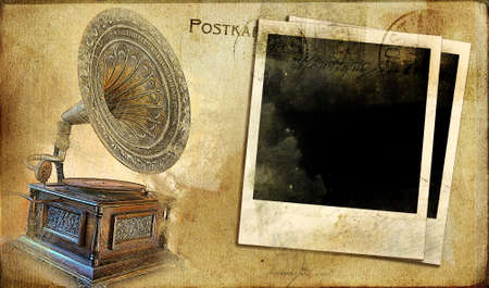 vintage postal card with gramophone and instant frames photo