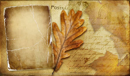 old notebook: vintage autumn card with leaves and frame