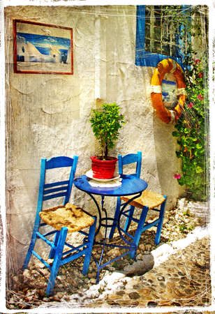 backstreet: traditional Greece - old chairs in taverna- retro styled picture