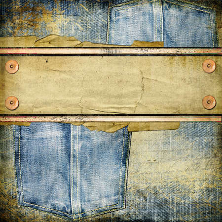 vintage jeans background with place for text  photo