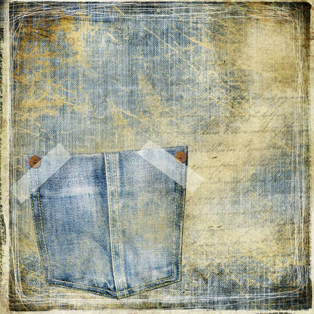 grunge jeans paper with pockets  photo