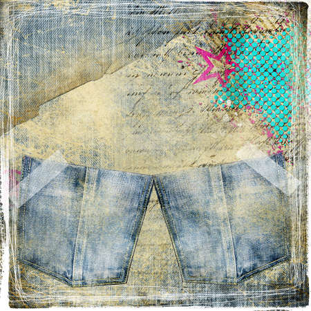 trendy vintage background with jeans pockets photo