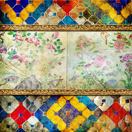 decorative vintage background in thai style with place for text  photo
