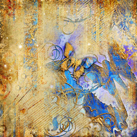 grungy: artistic  golden background with blue butterflies Stock Photo