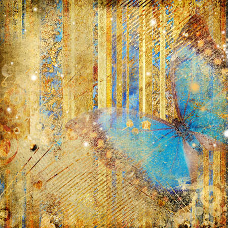 stylish golden background with blue butterfly  photo