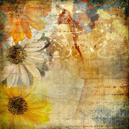 floral grunge: messy artistic background in grunge style Stock Photo