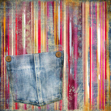 torn jeans: striped vintage background with denim pocket