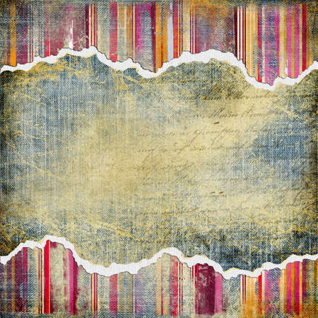 torn jeans: vintage denim background with place for text  Stock Photo
