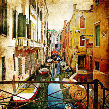 painting style: colors of romantic Venice- painting style series - architecture Stock Photo