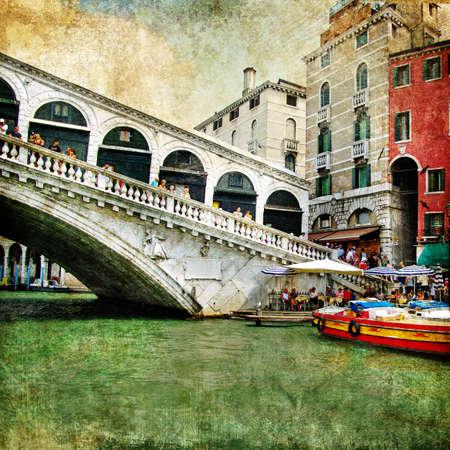 colors of beautiful Venice - artwork in painting style - Rialto bridge  photo