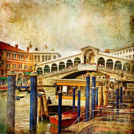 doges: colors of beautiful Venice - artwork in painting style - Rialto bridge