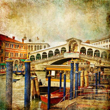colors of beautiful Venice - artwork in painting style - Rialto bridge Stock Photo - 8538457
