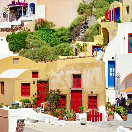 greek islands: colorful Santorini Stock Photo