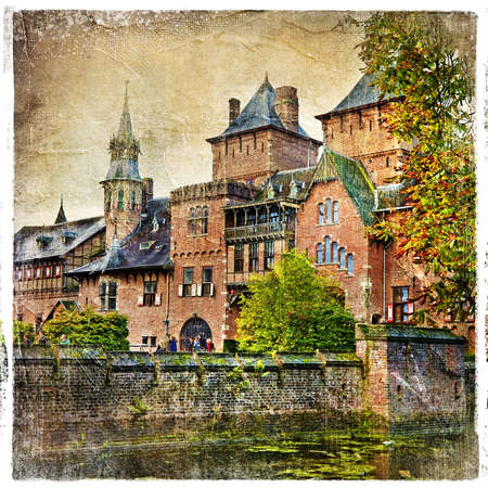castello medievale: castello medievale - immagine in stile retr�