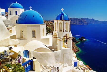 beautiful white-blue Santorini photo