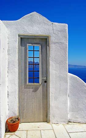 architectural details of Santorini island photo