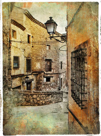 landscape stones: old pictorial streets of ancient town of Spain - artistic picture Stock Photo