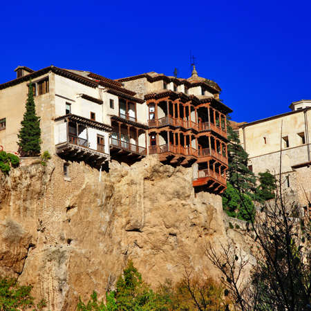 steep cliff: Famous Hanging houses of Cuenca, Spain