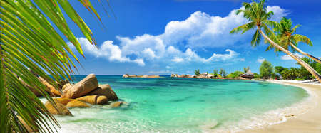 panoramic beach: tropical paradise - Seychelles islands, panoramic view Stock Photo